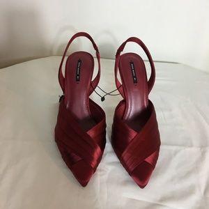 Zara Satin High Heel Slingbacks